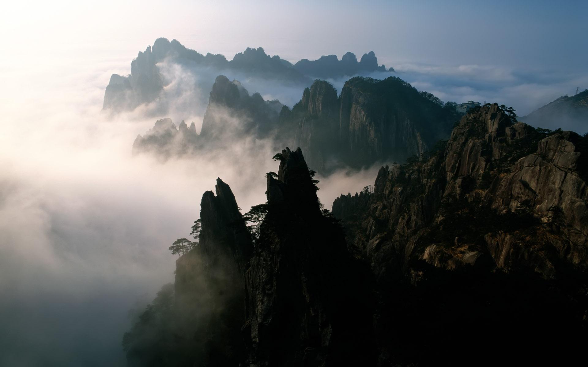 中国 山 霧 夜明け デスクトップの壁紙 19x10 壁紙をダウンロード Ja Hdwall365 Com