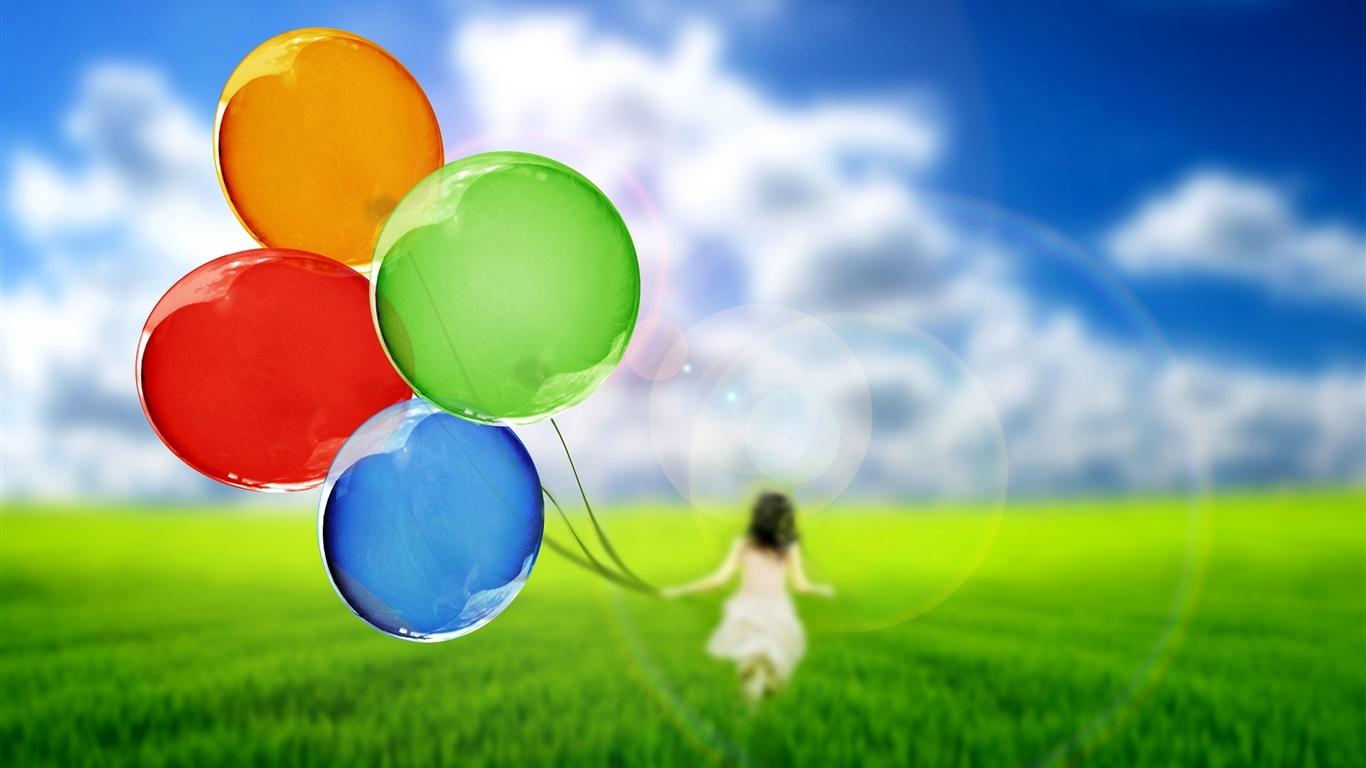 カラフルな風船 かわいい女の子 草 緑 空 デスクトップの壁紙 1366x768 壁紙をダウンロード Ja Hdwall365 Com