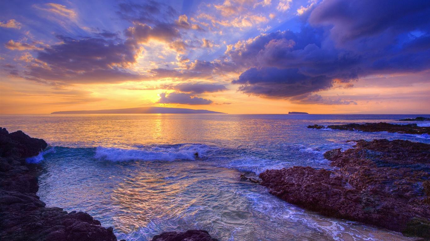 サンセット 波 シークレットビーチ マウイ島 ハワイ アメリカ デスクトップの壁紙 1366x768 壁紙をダウンロード Ja Hdwall365 Com