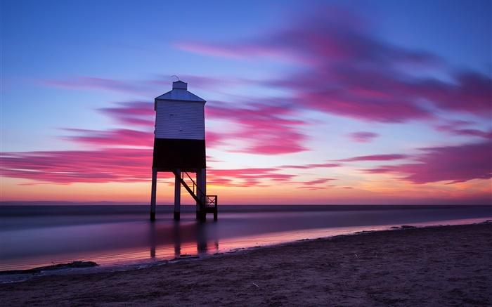 ビーチ、空、雲、夕日、夜、海、建物 壁紙 ピクチャー