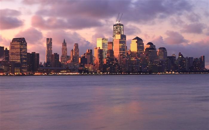 ニューヨーク、アメリカ、建物、高層ビル、ライト、海、夕方、夕日