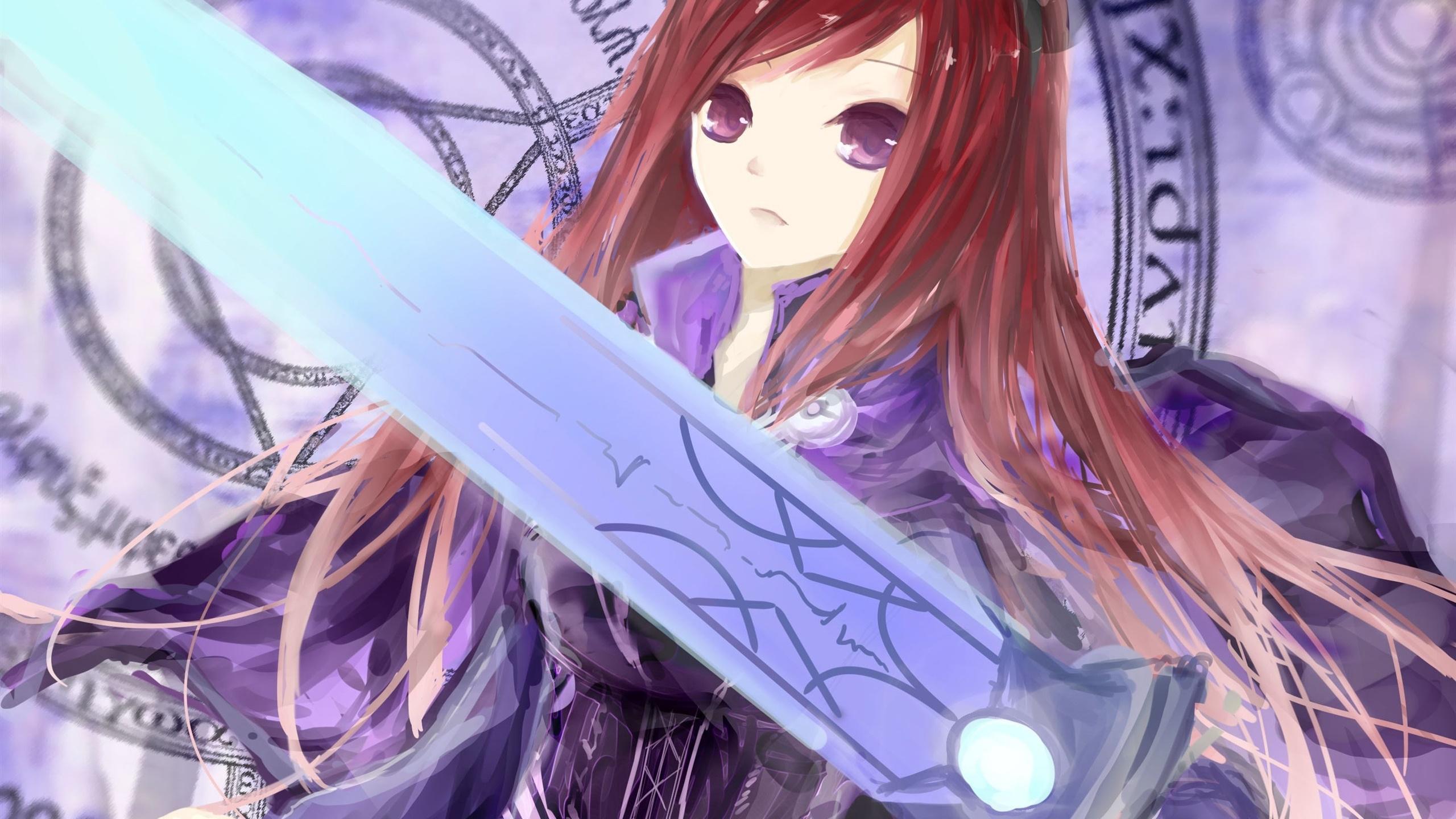 フェアリーテイル 赤い髪の少女 剣 アニメ デスクトップの壁紙 2560x1440 壁紙をダウンロード Ja Hdwall365 Com