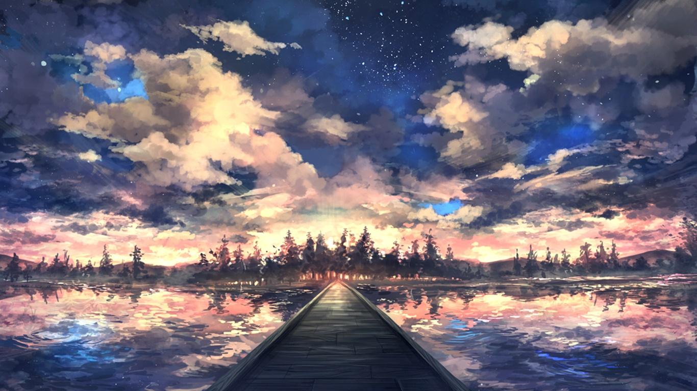 橋 川 木 空 雲 夕日 アートの描画 デスクトップの壁紙 1366x768 壁紙をダウンロード Ja Hdwall365 Com